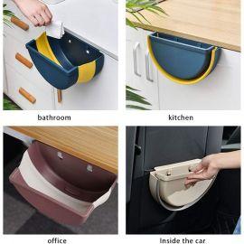 Folding Hanging Waste Bin for Kitchen Cabinet Door, Mounted Garbage Bins for Car Seat,Office,Bathroom Bedroom
