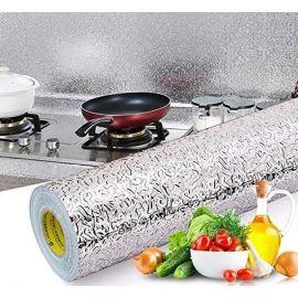 Kitchen Aluminum Foil Sticker Oil Proof Waterproof 60X300 CM, Heat-Resistant Backsplash Wallpaper