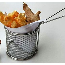 Fries Basket Stainless Steel Rounded, Silver